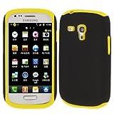 Rocina funda contraportada silicona en negro amarillo para Samsung i8190 Galaxy S3 Mini