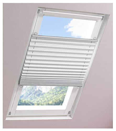 ourdeco® Universal Dachfenster Thermo-Plissee / 67 x 141 cm, weiß/lichtundurchlässig, verdunkelnd, Thermo-, Hitzeschutz/Klemmen=Montage ohne Bohren=Smartfix=Klemmfix=Easy-to-fix