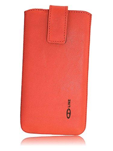 OrLine Handytasche passend für Alcatel Idol 3C. Elegant Ledertasche Tasche Echtleder Leder-Hülle (Lasche mit Rückzugfunktion Ausziehhilfe Klettverschluss befestigt) Schutzhülle Case