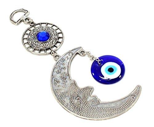Turco azul diseño de ojo (Nazar) Moon amuleto de pared diseño con texto en inglés protección bendición regalo US móviles