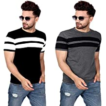 SCATCHITE Striped Men Round or Crew Multicolor T-Shirt (Pack of 2)