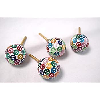 Round Mixed Colour Button Drawer Cupboard Door Knobs Pulls Handles