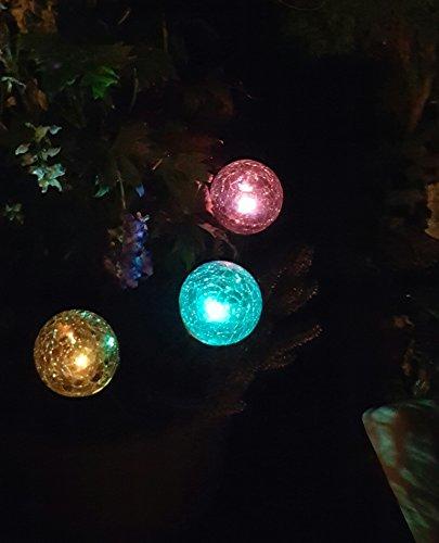 3 x LED Solar Kugelleuchten Solar-Glaskugel Ena mit wechselnden Lichtfarben Solarspieß Kugel Crashglas Bruchglas Optik Gartenleuchte Blumentopf Gartenstecker Solarstäbe Solarlampe Dekoration Leuchte