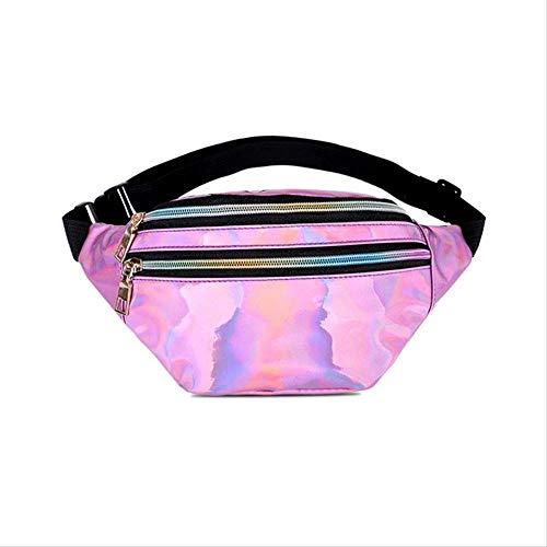 KHDJH Hüfttasche Holographische Weiblichen Gürtel Tasche Schwarz Geometrische Taille Packs Laser Brust Telefon Beutel R Pink -