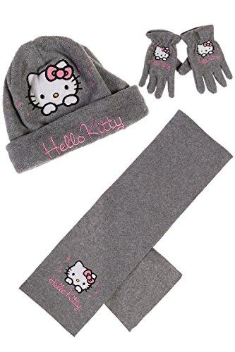 Coffret Echarpe, bonnet et gants polaire enfant fille Hello kitty Rouge et Gris  de 3 cd5318661da