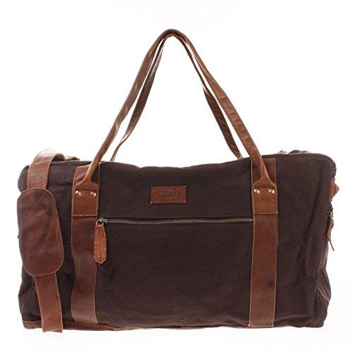 LECONI Reisetasche Damen Herren Canvas Handgepäck Leder Sporttasche groß Weekender Unisex 55x30x21cm mokka LE2014-C
