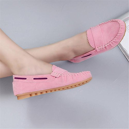 Longra Donna Confortevoli Massaggi mocassino-Gommino Shoes Rosa