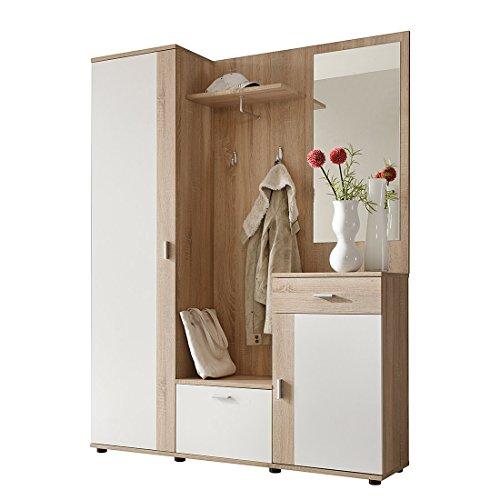 garderoben sets Stella Trading 86-005-68 Patent Kompaktgarderobe, Eiche Sonoma/Dekor, Circa 145 x 184 x 29 cm, weiß