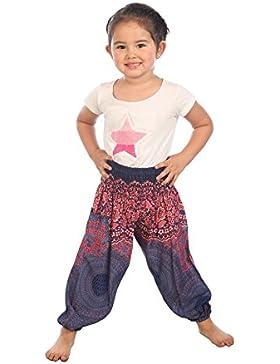 Lofbaz Bambine e ragazze Pantaloni Smocked Waist Boho Harem Aladdin