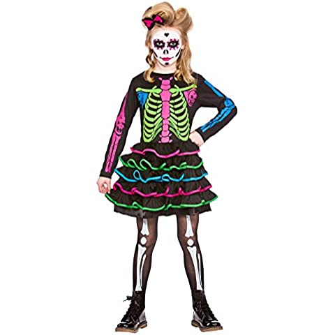 Wicked - Disfraz de esqueleto de neón para niñas (5-13 años)