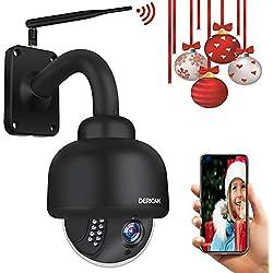 Cámara Dericam PTZ para Exteriores, cámara IP de Seguridad WiFi 1080P, Zoom óptico 4X, visión Nocturna, Enfoque automático con Tarjeta Micro SD 32G preinstalada, Negro