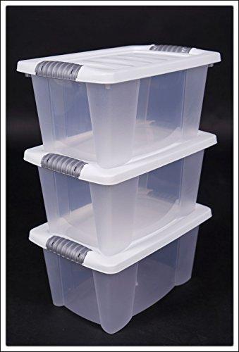 3x Multibox mit Deckel in weiß - 40 x 30 x 20 cm - 3er Set stapelbare Boxen