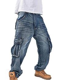 Vaqueros Holgados Estilo Hip Hop para Hombres Vaqueros rápidos Bolsillos  con múltiples Bolsillos Vaqueros Cargo 6f3651d2655f