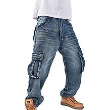 Jean Baggy Style Hip hop pour Hommes Jeans Rap Jeans Cargo Multi-Poches 9a64a04059b9
