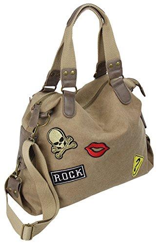 Damen Handtasche Schultertasche Umhängetasche Retro aus Canvas mit Patches Große Kapazität für Arbeit Freizeit Alltag (4535)