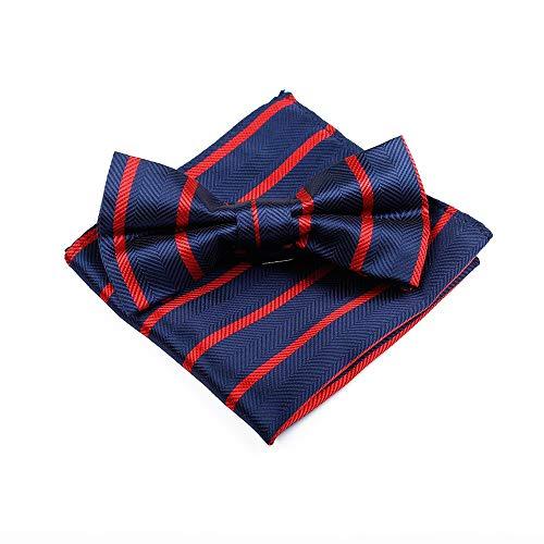 LILILICX Fliege Herren Classic Striped Square Handtuch Set Anzug Dress Up Groomsmen, ()