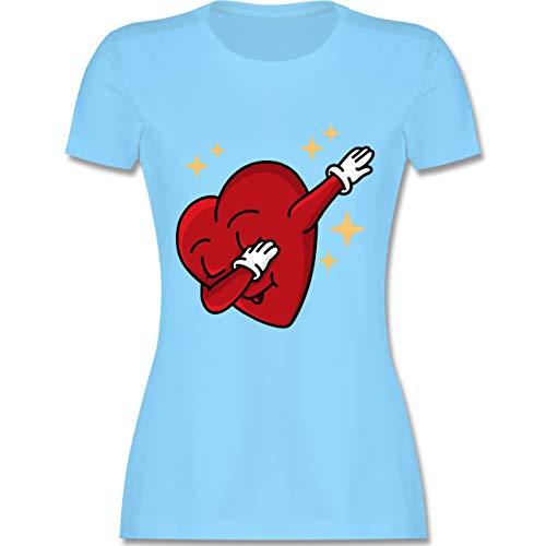 Valentinstag - Dabbing Herz - Valentinstag - S - Hellblau - L191 - Damen Tshirt und Frauen T-Shirt