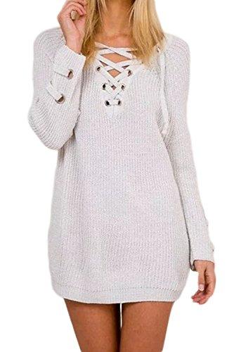 Donna Elegante In Maglia Con Lo Scollo A V Benda Inverno Con Palangari Uncinetto Top Maglione Grey