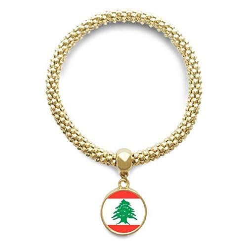 Haoda Damen Libanon National Flagge Asien Land Goldene Armband Laufende Anhänger Schmuck-Kette (Land Und Ihre Nationalen Kostüm)