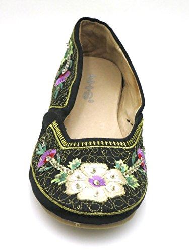 HIS Ballerines été Chaussures femme brodé crème noir 1773 Noir