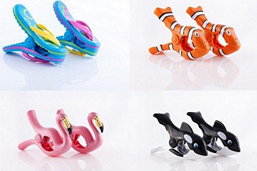 \'Strandtuch Clips Boca–4Paar bieten Pack. Flip Flops, Clown Fisch, Flamingos, Wale