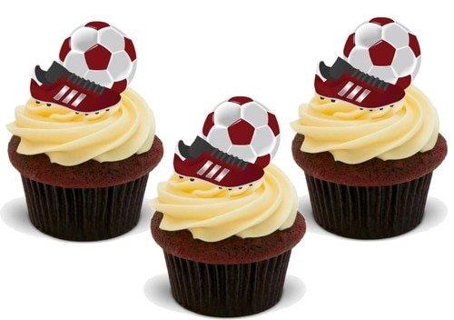 ROTER FUßBALL BALL UND FUßBALLSCHUH - 12 essbare hochwertige stehende Waffeln Kuchen Toppers -...
