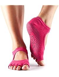 1 Paire Bella moitié Toe ToeSox femmes en coton bio Ouvrir avant Yoga Chaussettes en fuchsia