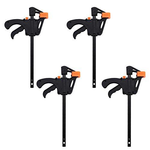 Einhandzwingen, 4-tlg F Bar Clamp 4.3 x 7.87 Zoll Schnellspannzwinge Klemmzwinge Schraubzwinge, aus Aluminiumlegierung + Kunststoff, Max Spannabstand ca. 3.94 Zoll