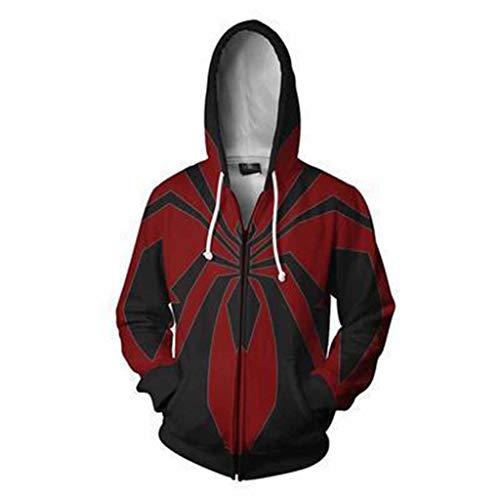 Xiaodun77 3D gedruckte Hoodies Männer Hoodies Spider-Man weit Weg von zu Hause Reißverschluss Casual Outdoor Cosplay Kostüm Pullover Comics Film Fan Hoode,Schwarz,M (Spiderman Black Kostüm Comic)