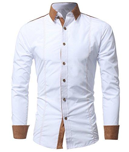 Kuson Herren Langarmhemd Slim Fit Hemden Modern Business Hochzeit Freizeit Bügelleicht kentkragen Hemd mit Geweihprosse Weiss M