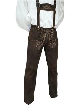 Trachten Lederhose Trachtenhose Trachtenlederhose lang braun Leder Hose hochwertiges Wildbockleder bestickt mit...