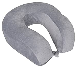 Lifestyle-You™ Imported Contoured Memory Foam Neck Travel Pillow for Car, Train, Flight (Light Grey)