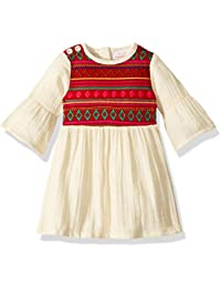 7f8d52fc6b176 Masala Baby Girls Organic Simple Dress Jacquard Red