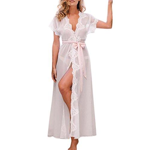 Kleid damen Kolylong® Frauen Reizvoller V-Ausschnitt Spitze Bademäntel Elegant Split Kleid Lange Nachtwäsche Unterwäsche Nachtwäsche Strandkleid Party Kleid Abendkleid (S, Weiß)