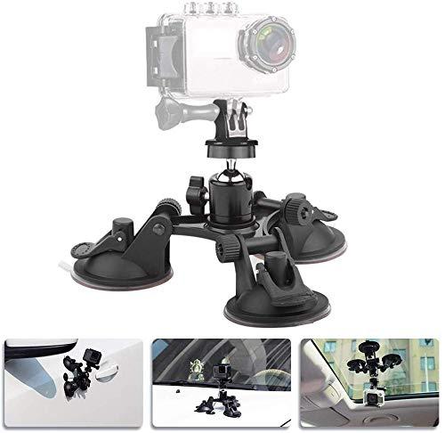 SIZIMA Triple Cup, Supporto per aspirazione per telecamera - Montaggio per auto Supporto per ventosa tripla con 1/4 testa filettata Testa a sfera per treppiede a 360 gradi per GoPro Hero 7/6/5/4/ Sony
