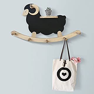 Antique Alive Home Decor Handmade Sheep Lamb Wooden Wall Mount Hat Cap Scarf Clothing Coat Rack Handbag Animal Decorative Hooks Hanger Display Flower Pot Planter Shelf (Black)