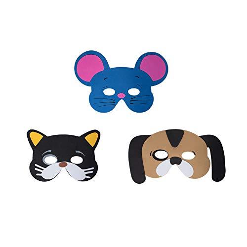 aumstoff Masken mit Hund, Katze, Maus Motiven - als Karnevals, Halloween, Geburtstags-Party Kostüm ()