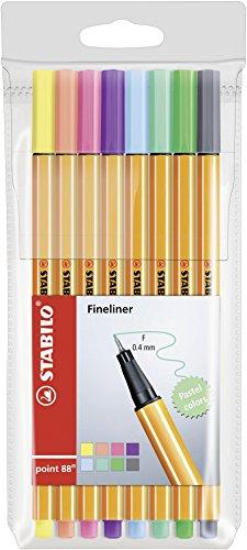 Fineliner - STABILO point 88 - 8er Etui - Pastellfarben