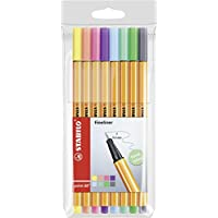 """STABILO Point 88 """"Pastel"""" Fineliner Pen - Assorted Colours (Pack of 8)"""