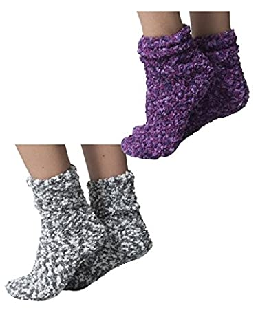 PAQUET 2 PAIRES SOCQUETTES THERMIQUE DE LIT | CHAUSSETTES A LA CHEVILLE POLAIRE| CHAUSSETTES POUR L'HIVER | GRIS, VIOLET | BONNETERIE ITALIENNE (35/38, Varié: 1 paire violet + 1 paire gris)