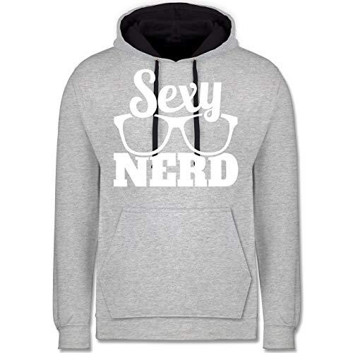 Shirtracer Nerds & Geeks - Sexy Nerd - weiß - S - Grau meliert/Navy Blau - JH003 - Kontrast Hoodie