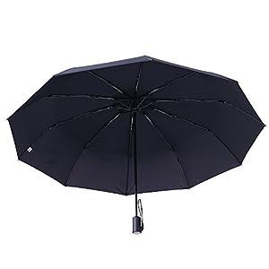 Er-estavel Parapluie automatique, Parapluie Pliant ,Parapluie de compact pour voyage et sorties en plein air Automatique Ouverture et Fermeture (Noir)