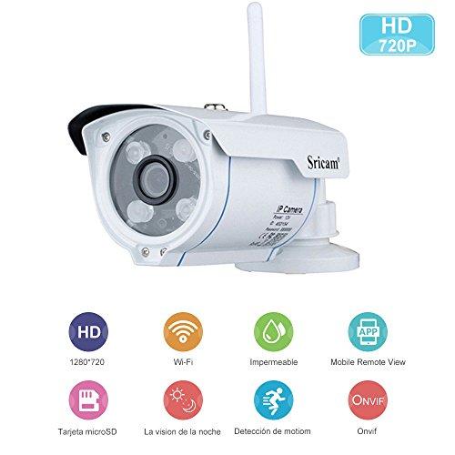 Sricam Cámaras de Vigilancia Wifi con Visión Nocturna,HD 720P P2P IP66 Detección de Movimiento IP CCTV Camara Seguridad Interior/Exterior para el Hogar Bebe/Coches Compatible con iOS y Android