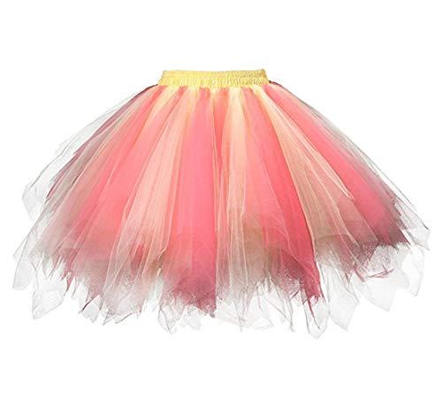 Honeystore Damen's Tutu Unterkleid Rock Abschlussball Abend Gelegenheit Zubehör Gelb und Wassermelonen ()