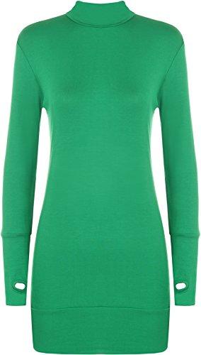 WearAll - Damen Elastisch Anliegend Langarm Rollkragen Kurz Kleid Top mit Daumenloch - 7 Farben - Größe 36-42 Jade