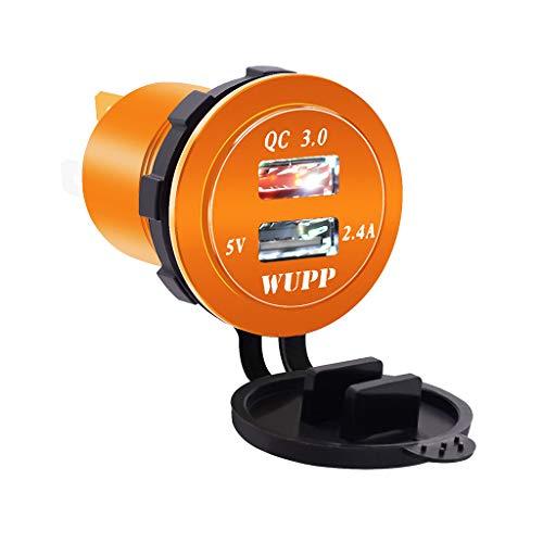 Bescita Quick Charge 3.0 USB Auto KFZ Ladegerät Buchse mit Schalter 12V/24V Wasserdichte Zigarettenanzünder Adapter Auto Power Outlet 30W QC 3.0 Schnellladung für Boot Motorrad LKW ATV (Orange)