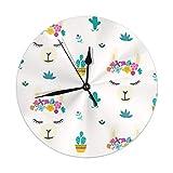 Tête de lama en forme de dessin animé avec couronne de fleurs, horloge suspendue ronde de 9,84 pouces à batterie, décoration murale pour le salon, la cuisine, la chambre à coucher et le patio