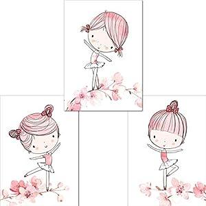 LALELU-Prints | A4 Bilder Kinderzimmer Poster | Zauberhafte Ballerina Ballett rosa | Babyzimmer Deko Mädchen | 3er Set…