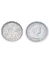Genuine Polished Lucky Sixpence Cufflinks   1959 coins, 60th birthday present, Gift Boxed, 1959 Anniversary