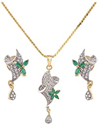 IGP Fashion Jewellery Gold Plated Chain With American Diamond Studded With Floral Lush Green Stone Stylised Pendant...